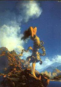 Ecstacy, by Maxfield Parrish -- Seeking a spiritual ecstacy is mroe sublte, but more sublime, than physical ecstacy.