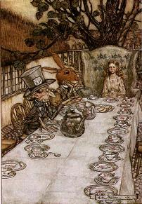 The Mad Tea Party from Alice in Wonderland, illustrated by Arthur Rackham